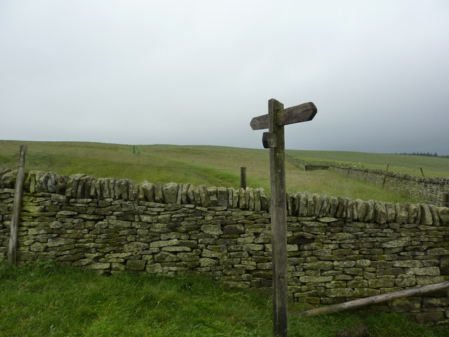 Footpath signpost on Bridge-end Pasture