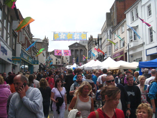 A busy Market Jew Street on Mazey Day 2012