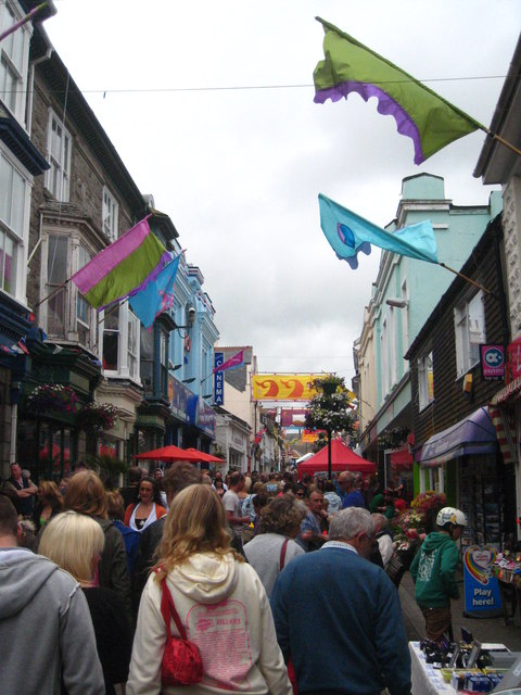 Crowds in Causewayhead Penzance on Mazey Day 2012