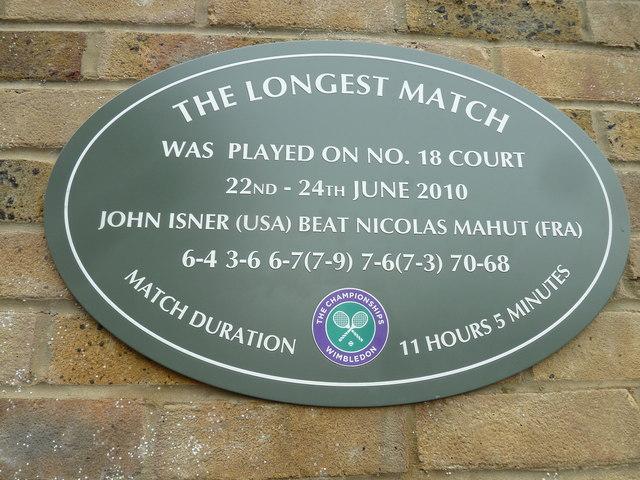 Historic plaque at Wimbledon