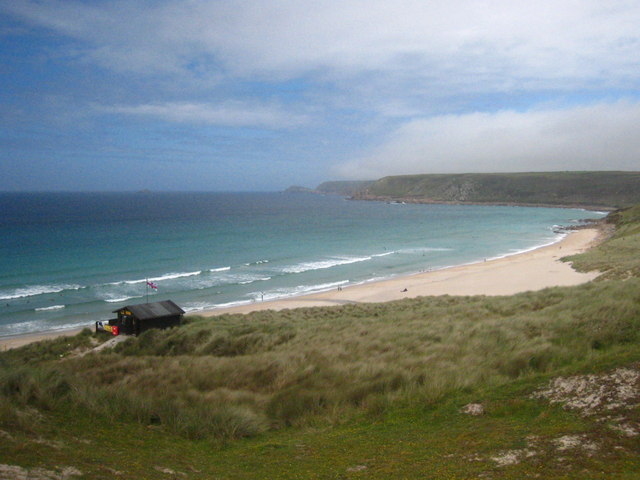 Looking across the dunes towards the north end of Sennen beach