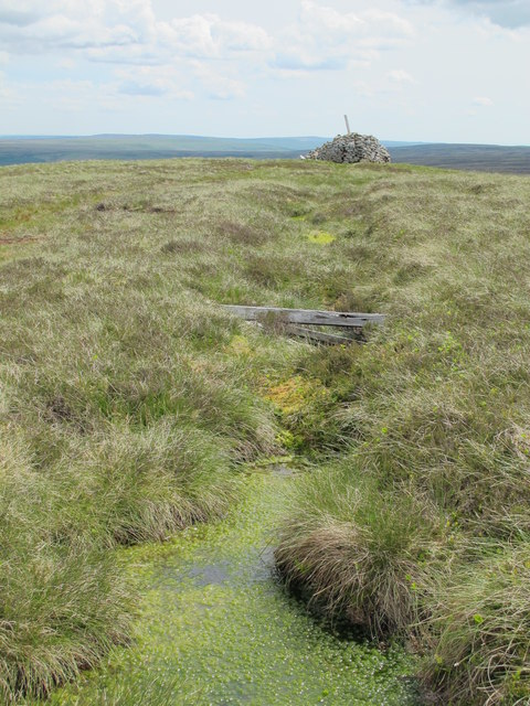 The Northumberland/Durham county border on the summit of Killhope Law