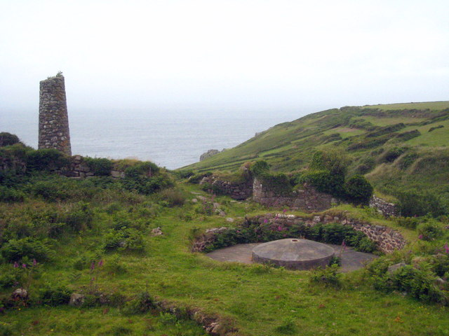 Remains of tin processing works at Porthmeor