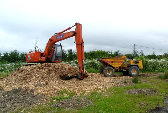 Digging up wood shavings, Knockhatch, Hailsham