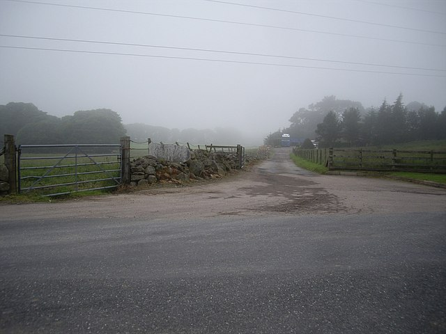 Farm access off minor road south from Mains of Keir