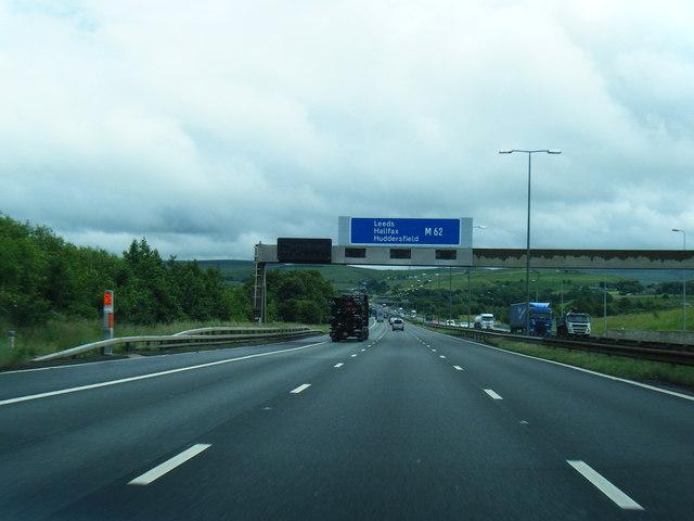 M62 eastbound