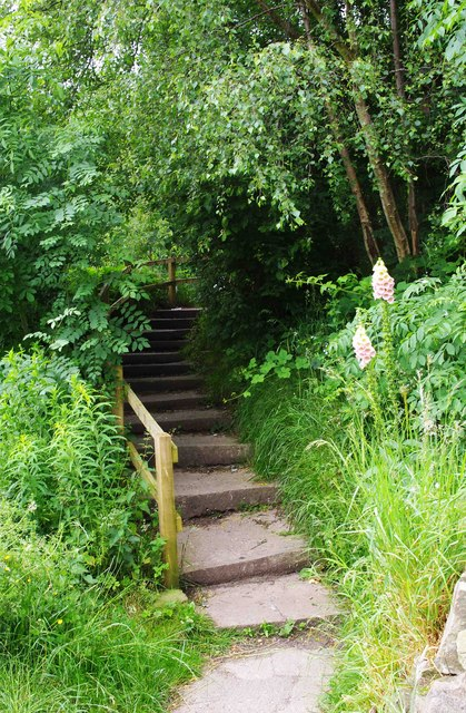 Steps from main car park to overflow car park, Apedale Community Country Park, near Chesterton