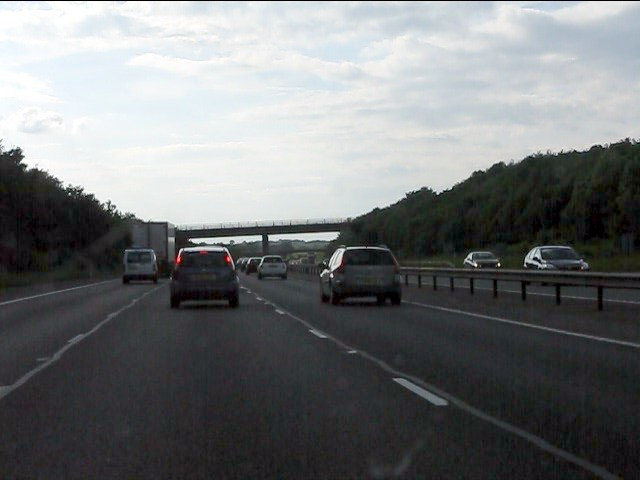 M40 motorway nearing the Fosse Way bridge (B4455)