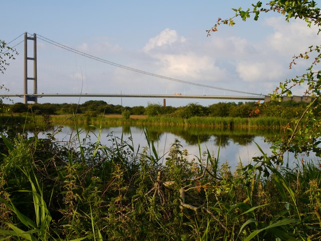 Humber Bridge South Span from Barton Ponds