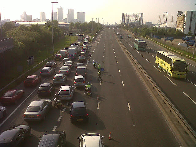 Diverted traffic on the Blackwall Tunnel approach