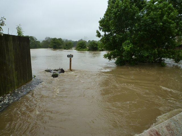 River Simene in flood at Magdalen Lane, Bridport