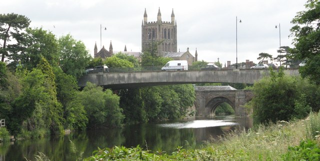 Bridges over the river Wye and Cathedral at Hereford
