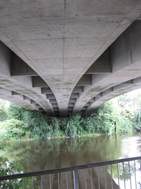 Underneath the A49 bridge over the river Wye in Hereford