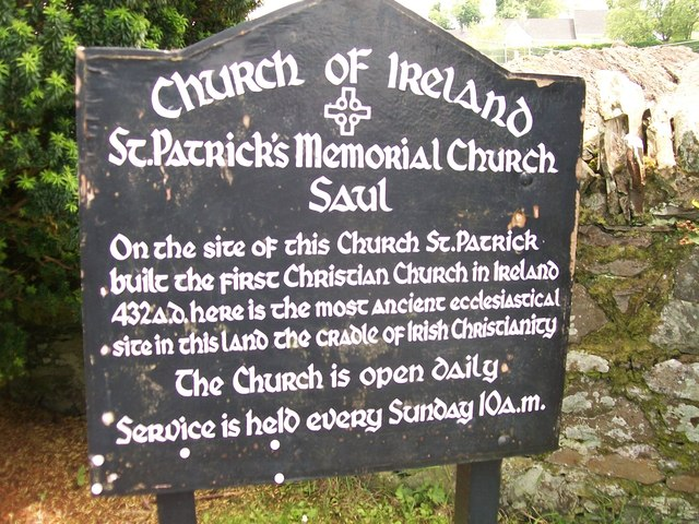 Information board at St Patrick's Memorial Church, Saul