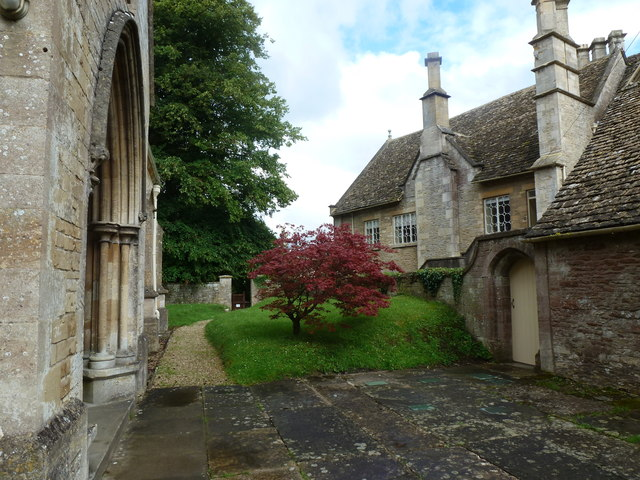 Kemble church entrance (left) and the back of Kemble House