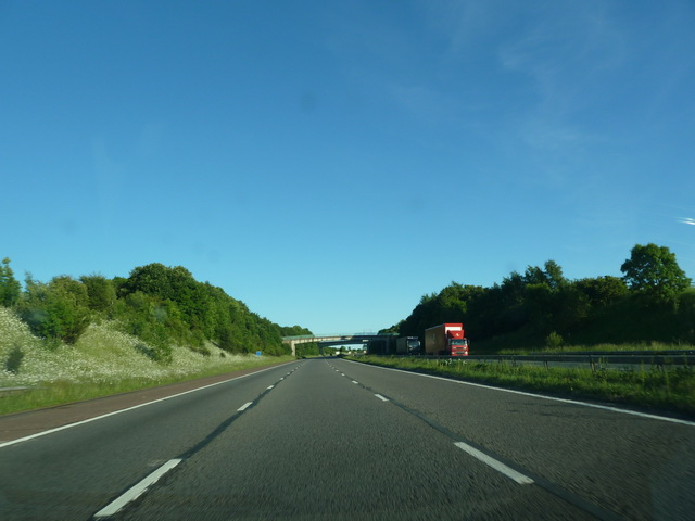 M6 approaching footbridge near Clifton