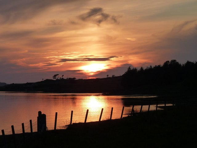 Setting sun over Loch Snizort
