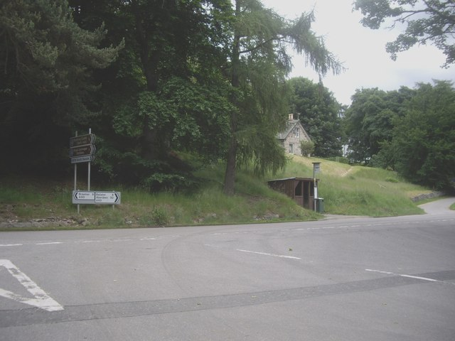 Junction of B796 with the A93 at Crathie
