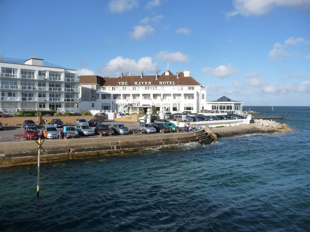 Sandbanks: the Haven Hotel from the ferry