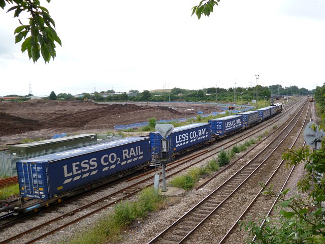 Tesco train passing through Newport