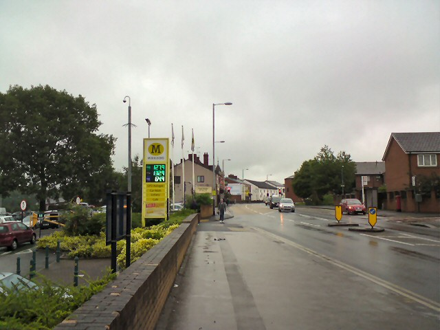 A wet Monday outside Morrisons on Mottram Road