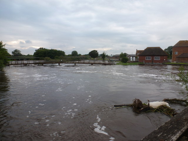 Longham: a very swollen River Stour