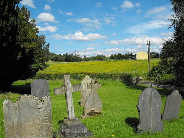 View east from the churchyard, Llanllwchaiarn Parish Church