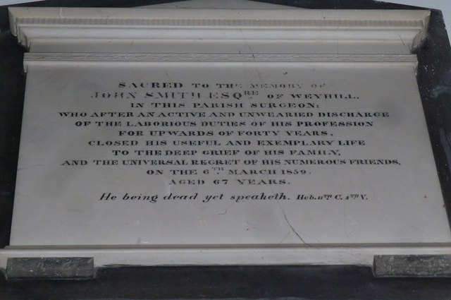 St Michael & All Angels, Weyhill: memorial (V)