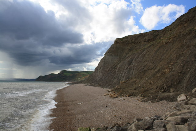Cliffs and blocked beach