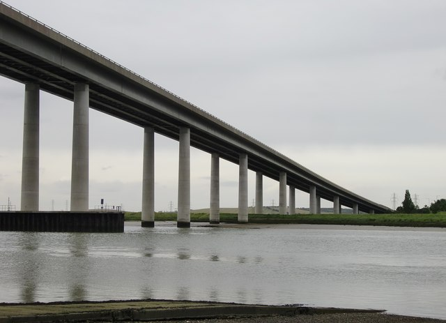 The Sheppey Crossing in the rain, July 2012