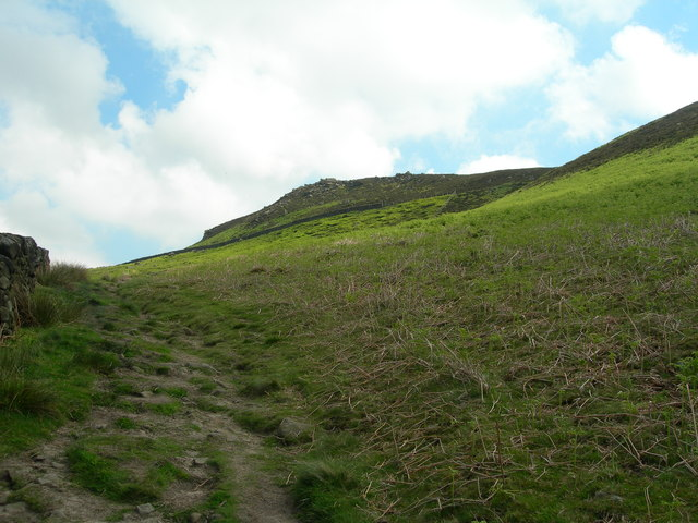 Looking up to Whinstone Lee Tor