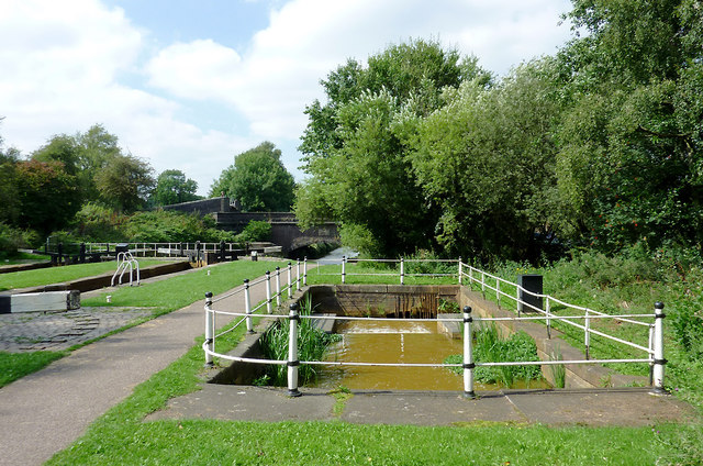 Locks overflow channel near Hardings Wood, Staffordshire