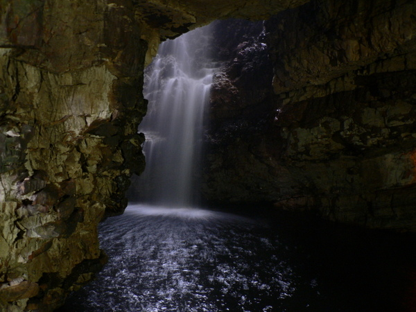 Waterfall inside a cave