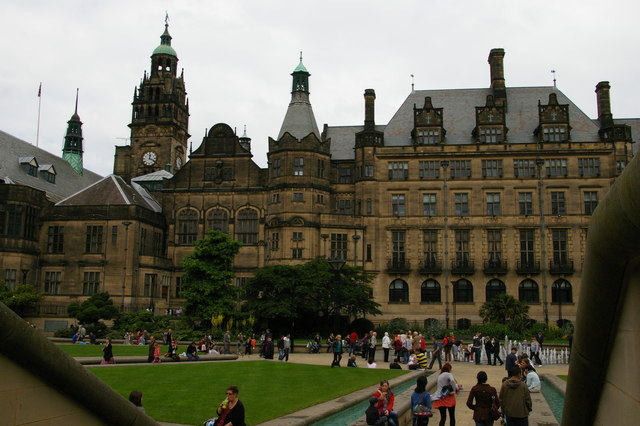 Sheffield Town Hall across the Peace Gardens