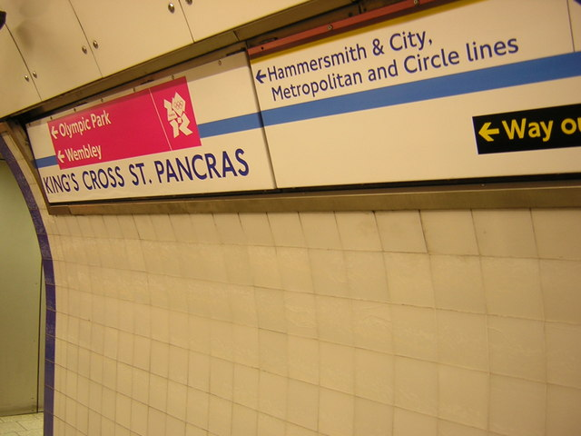 Olympic signage, Kings Cross St Pancras station (Victoria Line platform)