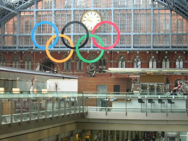 St Pancras station: Olympic rings