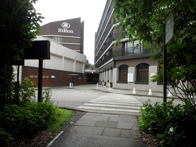 The back entrance to the Hilton Birmingham Metropole