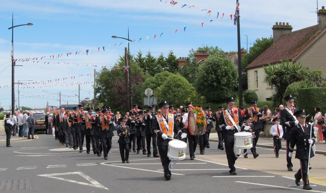 The Glenloughan Flute Band parading through Kilkeel