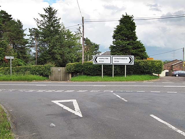 Road junction on the A723 at Muirhall Farm