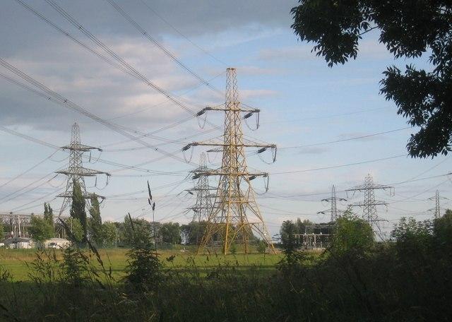 Pylons at Cottam power station