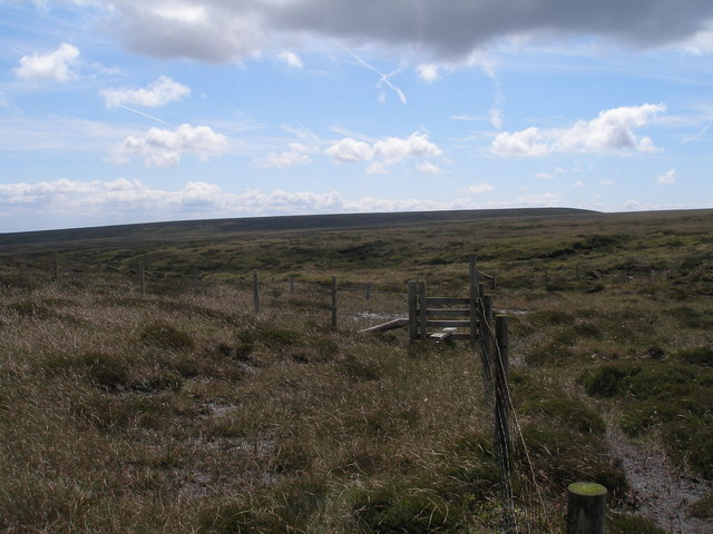 Stile and fence junction at the head of Great Grains Clough