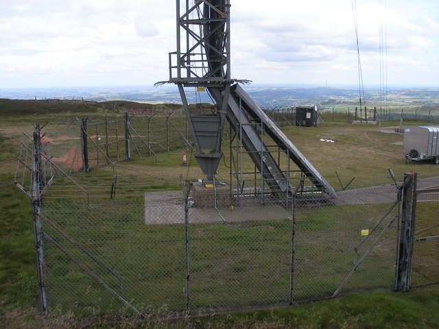 The base of the Holme Moss mast