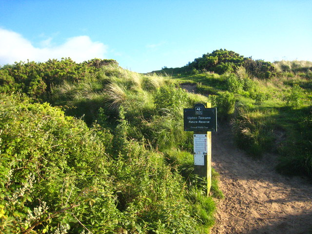Footpath onto the dunes at Upton Towans Nature Reserve