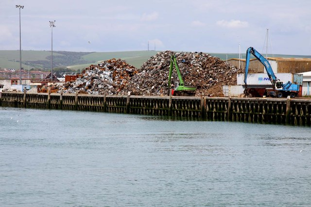 Metal recycling yard in Newhaven Harbour