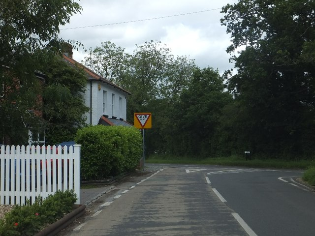 Road junction in Burghclere