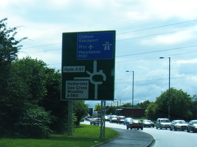 A57 Hyde Road approaching Hattersley Roundabout