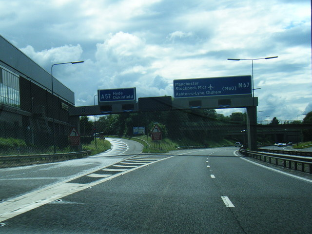M67 exit slip at Godley
