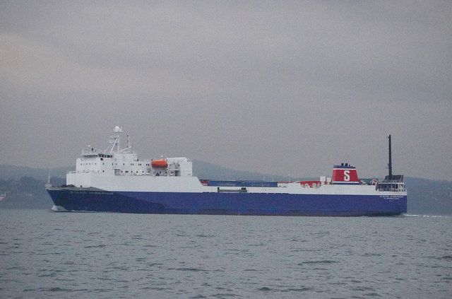 The 'Stena Hibernia' in Belfast Lough