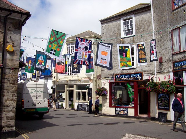 Picture of the main square in Mevagissey decorated for feast week