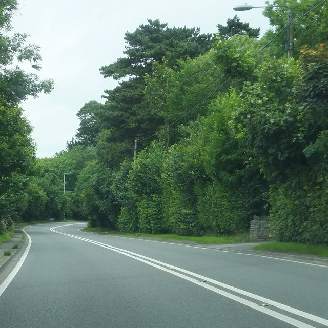 The A38 to the south of Sidcot